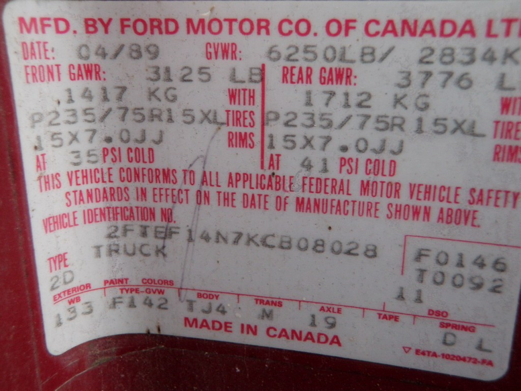 Here is an old red tag from an '89, also Canadian.